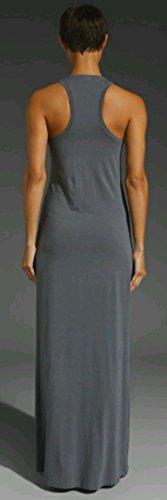 Womens Ladies Summer Long Plain Racer sans manches à encolure dégagée Muscle Retour Jersey Maxi Dress Plus Size Débardeur XL XXL XXXL 36 38 40 42 44 46 48 50 52 54 Gris foncé