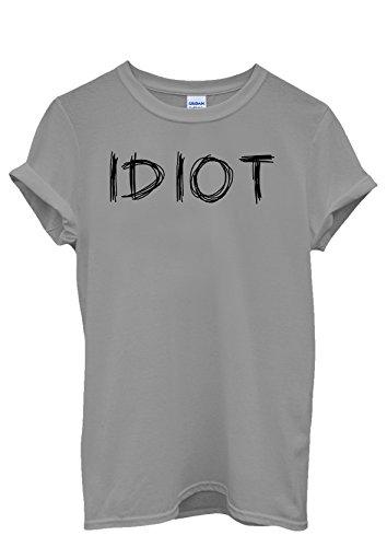Idiot Mean Funny Tumblr Blogger Men Women Damen Herren Unisex Top T Shirt Grau