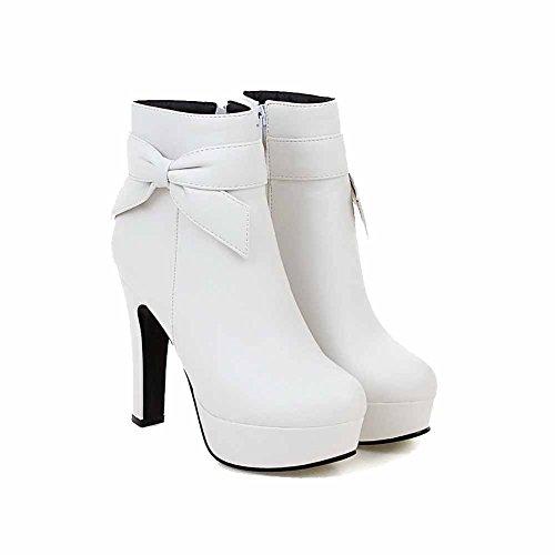 AgooLar Damen PU Niedrig-Spitze Rein Hoher Absatz Stiefel mit Anhänger, Weiß, 38