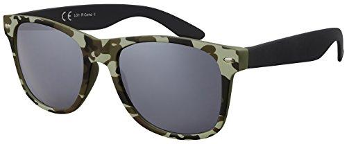 Original La Optica Verspiegelte UV400 Unisex Sonnenbrille Wayfarer Art - Farben, Einzel-/Doppelpacks (Einzelpack Rubber Camouflage II (Gläser: Grau))