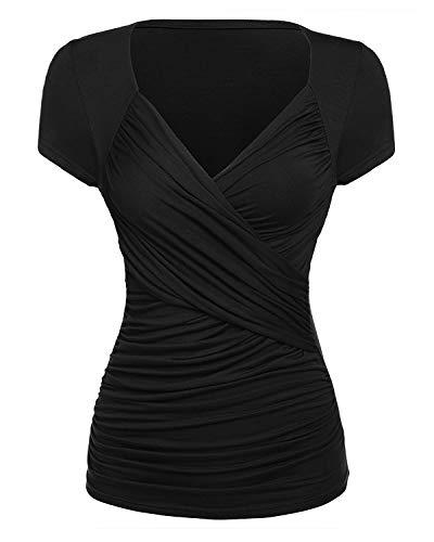 Damen T-Shirts mit V-Ausschnitt Plissiertes gerüschter Causal Sexy Blusen Shirt Oberteil Tunika Kurzarm Tops X-Large Schwarz