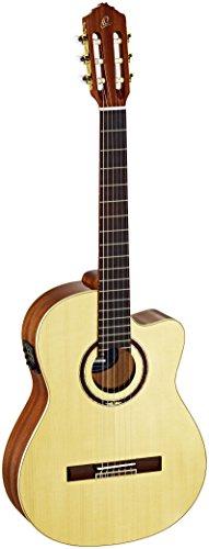Ortega RCE138SN Konzertgitarre in 4/4 Größe Cutaway elektrifiziert schlanker 48mm Hals im hochglanz Finish mit hochwertigem Gigbag und Gurt