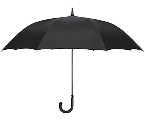 PLEMO Parapluie Canne Noir Classique Surdimensionné Automatique 49''/125 cm Diamètre