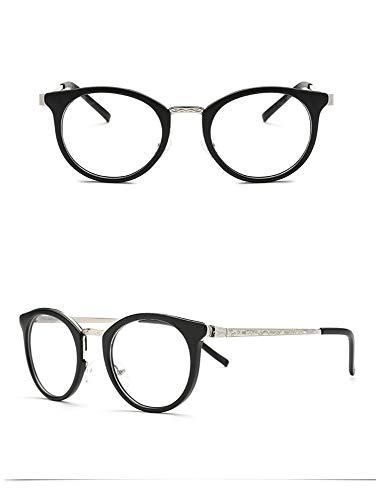 AdorabFrames Brille Ultraleicht großes Gesicht Retro rundes Gesicht Brillengestell Metallbeine flacher Spiegel Hipster Unisex sandschwarzer Rahmen