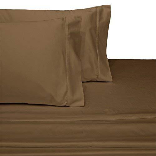 Xuvet Spannbettlaken-Set für Queen-Size-Betten (verstellbar), 100% ägyptische Baumwolle, Fadenzahl 600, Satingewebe, 45,7 cm Tiefe Taschen, Schwarz Split Top King Taupe -