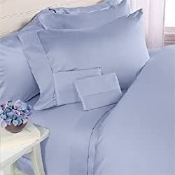 1000 hilos de algodón egipcio 1000TC juego de sábanas, A/doble, color sólido (bolsillo profundo)