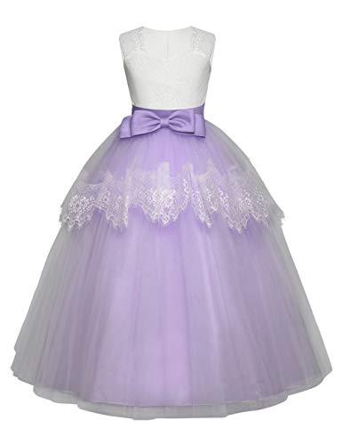 besbomig Mädchen Spitze Bowknot Ärmellos Prinzessin Kleider Partei Prom Ballkleid - Formale Hochzeit Festzug Blumenmädchenkleid Abendkleid Mädchen Formale Kleider