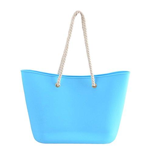 Donna Moda Colore Protezione Ambientale Borse Per La Spesa Silicone Borsa Di Gelatina Blue