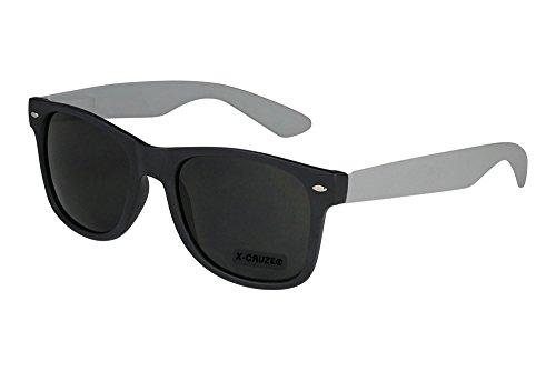 X-CRUZE 8-061 X 16 Nerd Sonnenbrille Style Stil Retro Vintage Retro Unisex Herren Damen Männer Frauen Brille Nerdbrille - schwarz matt/grau matt