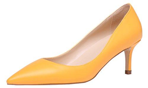 AOOAR Damen Kitten-Heel Bunt Elegante Gelb PU PumpsSchuhe EU 42