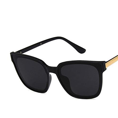GY-HHHH Einfache und langlebige Sonnenbrille quadratische Sonnenbrille Sonnenbrille mit flacher Linse rundes Gesicht Travel Essential-Black