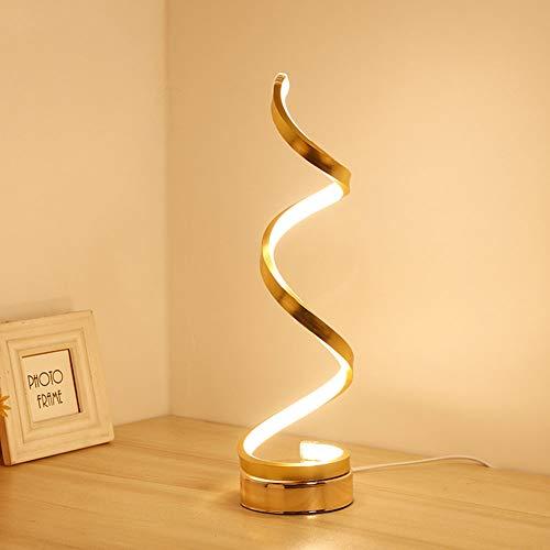Tischlampe LED Spiral Acryl Button Typ Energiesparende Moderne Minimalistische Schlafzimmer Wohnzimmer Studie Nachttischlampe Dekoratives Licht,Gold