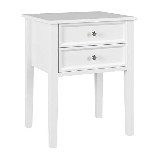 homfa comodino bianco da letto tavolino basso con 2 cassetti mobile legno tra divano decorato salotto 48 x 40 x 60 cm (1)