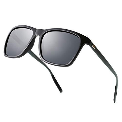 TIJN Polarisierte Sonnenbrille für Damen Herren Rechteckiger Aluminium Brillengestell UV400 Schutz