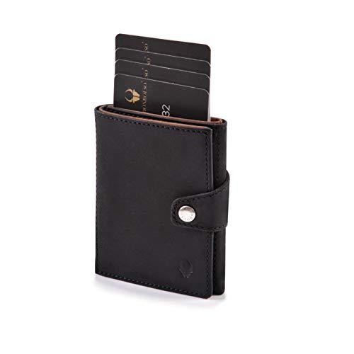 DONBOLSO Wallety Leder Geldbörse mit Münzfach - Geldbeutel klein mit RFID Schutz - Platz für 10 Karten - Mini Portemonnaie für Herren und Damen - Slim Wallet - Schwarz/Braun
