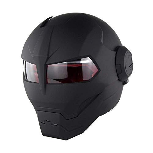 MENUDOWN Motorrad Helme,Full Face Touring Motorrad Harley Helm Doppel-Objektiv-Rennhelm Vintage Helm Persönlichkeit Cooler Helm Iron Man Helm Motorrad Helm Hälfte Jethelm ABS,Matte Black-M