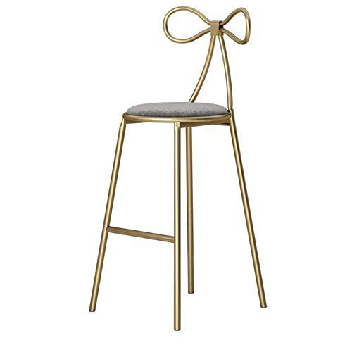 Bar-stuhl-seat-kissen (Esstisch Stuhl Barhocker Stuhl Vintage Fußstütze Hocker mit Butterfly-Rückenlehne Runde graue Kissen Sitz Esszimmerstühle for die Küche |Bar Counter Stool Gold Metal Beine (Size : Seat Height:75cm))