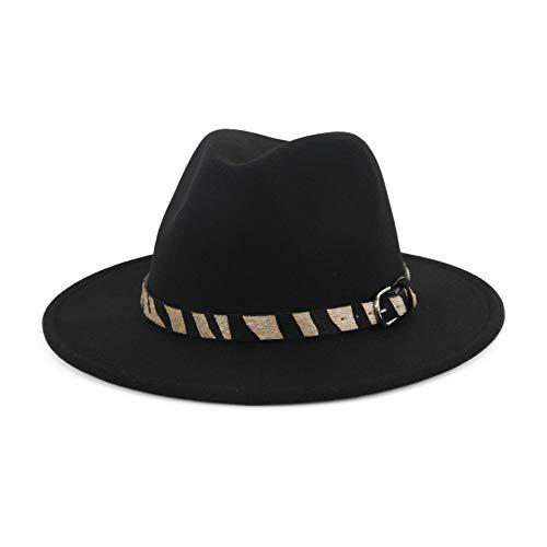 Damenhut Wide Flat Brim Wollfilz Jazzhut Zebra gestreiften Hut Woll Western Cowboy Hut Floppy Hat Hut (Farbe : Schwarz) Justin Womens Hut