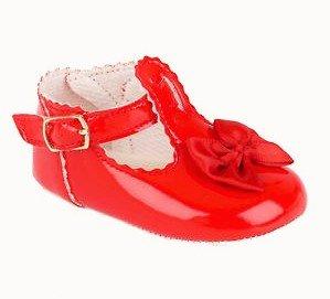 Baby Mädchen Rot Schwarz Pink Elfenbein Patent Kinderwagen Taufe Schuhe Größen 0bis 4UK, Rot - Rotes Leder - Größe: 34 EU (Patent Leder-booties)