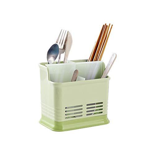 Baffect Soporte para utensilios de cocina, soporte para cubiertos con 4 compartimentos Cubiertos de plástico Escurridor de estante Porta escurridor para cubiertos Cuchara Tenedor Tenedor (verde)