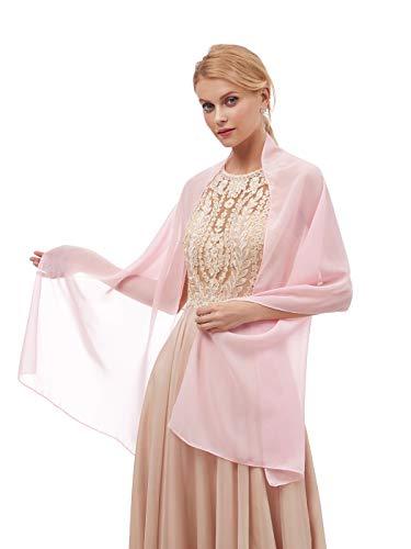 AlfaBridal Damen Fashion Chiffon Wraps Schal Schal für Brautabend Party - Pink - Länge : 191 cm * Breite : 51 cm Rosa Chiffon Wrap