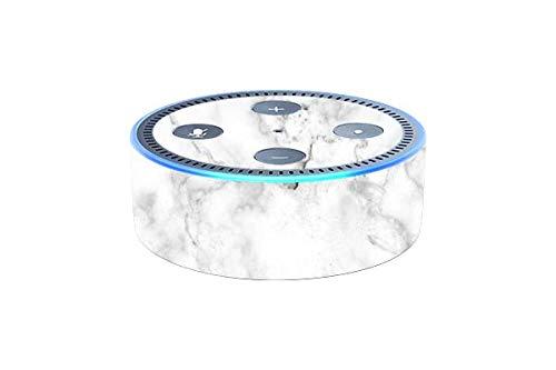 Skins4u Aufkleber Design Schutzfolie Sticker kompatibel mit Amazon Echo Dot 2.Generation Marmor Weiss