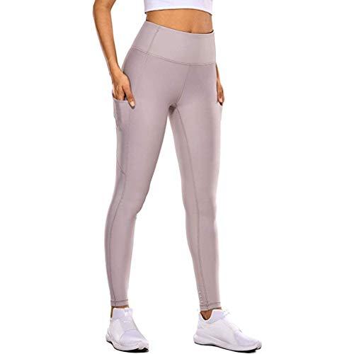 Xuthuly Frauen Arbeiten Bequeme Ausdehnung nackte versteckte Taschen-Trainings-Hose beiläufige hohe Taille und Feste Eignungs-Yoga-Hosen
