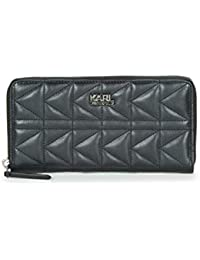a7e6dd345fdde Karl Lagerfeld womens K KUILTED ZIP AROUND WALLET Schwarz Portemonnaie