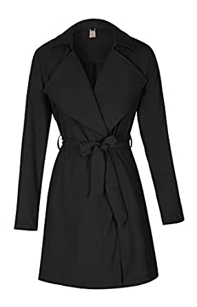 ELFIN® Damen Mantel knielang, Trenchcoat mit Taschen und Taillengürtel, Cardigan Lang und Kurz (M, Schwarz)