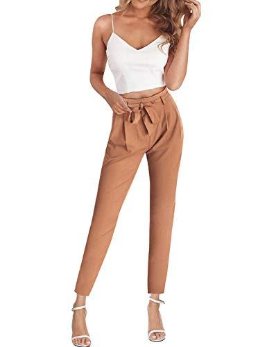 Weiß Chiffon-anzug (FANCYINN Jumpsuit Zweiteiler Damen 2 Teiler Crop Top und Hose Elegant Party Sommer Outfits Khaki)