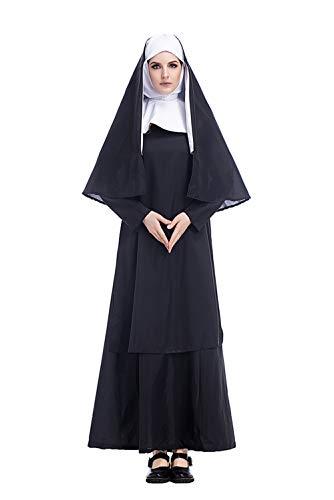 Manfis Damen Halloween Kostüm Cos Jesus Christus weiblich Missionar Priester Kleidung Maria Priester Nonne Kostüm 3-TLG. schwarz-weißes Kleid mit Kopfbedeckung und Schal (Jesus Halloween-kostüme Maria Und)