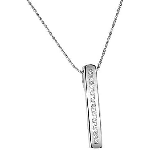 Diamond Line–Collana da donna con diamante ciondolo oro bianco 58511K circa 0,15ct. bianco leggera inclusione (W b2932-si)