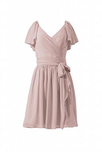daisyformals robe courte de Vintage Modeste robe de demoiselle d'honneur en mousseline (bm1662) Rose - #18-Dusty Rose