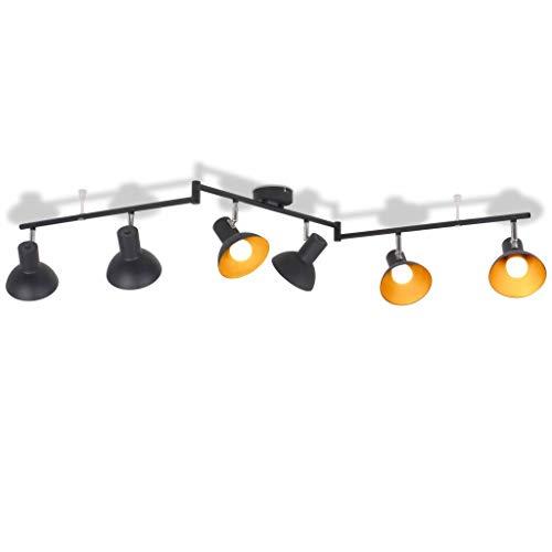 Tiauant Haus und Garten Beleuchtung Lampen Deckeneinbauleuchten für 6 Lampen E27 schwarz und gold Deckenlampe Küche Länge des Rohrrahmens: 145 cm -