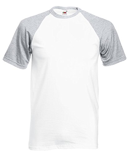 Fruit of the Loom Herren T-Shirt Ss008m White/Heather Grey