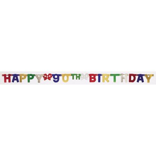 Party Dekoration Jointed Banner, Happy 90th Birthday, druckknopfstiel ()