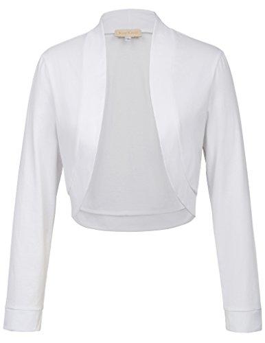 Kate Kasin Damen Sommer Ausgehen Einfarbig Langarm Mantel Bolero Weiß 823 S