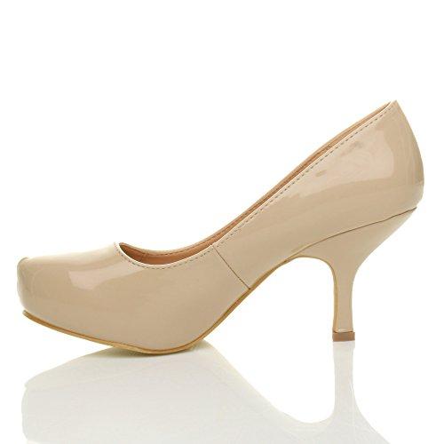 Femmes escarpins talon bas à moyen élégant travail soignée chaussures taille Beige verni