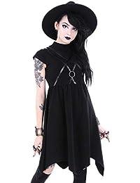 FRAUIT Damen Gothic T-Shirt Punk Schwarz Bluse Hoodie Sweatshirt V-Ausschnitt Choker Top Shirt Kleid Moon Drucken Jacke Mantel mit Kragen Mode Oberteile Elegant Streetwear