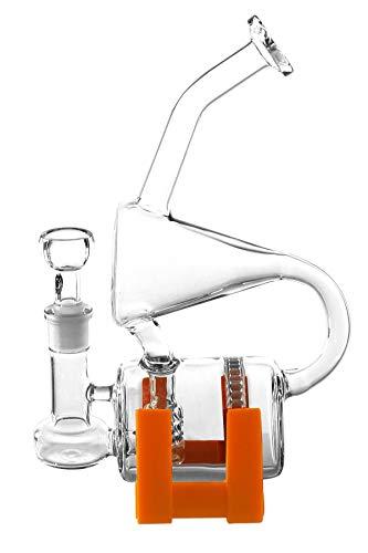 Diffusor 2 Fuß (Heisenberg Uhrwerk 2.0 mit Silikonfuß Glasbong Wasserpfeife Bubbler (NS 14) mit Honeycomb-Perkolatorsystem)