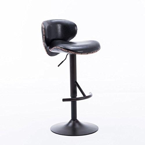 Barhocker YYF angehoben und gesenkt Werden, Swivel Bar Chair, hoher Stuhl, Casual Stuhl, Sitzhöhe 62-82cm (Farbe : Schwarz) -