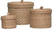 IKEA - LJUSNAN - Juego de 3 cestas con tapa, de junco marino