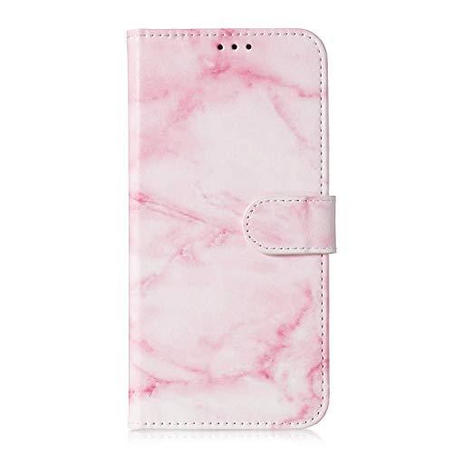 Homikon PU Leder Hülle Retro Schutzhülle Brieftasche Ledertasche Bookstyle Lanyard Weiche Handyhülle Kunstleder Lederhülle Silikon Tasche Kompatibel mit Huawei Honor 10 Lite - Rosa Marmor