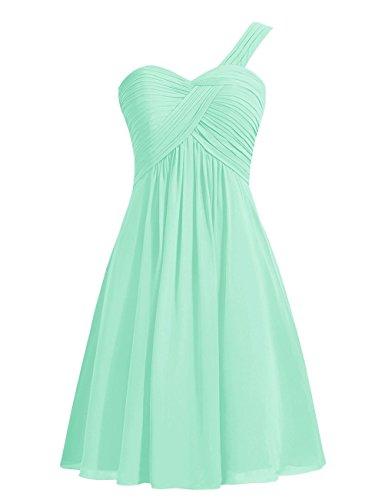 CoutureBridal® Ein-Schulter Brautjungferkleid Abendkleid Plissee ParteiKleid Chiffon Hellgrün