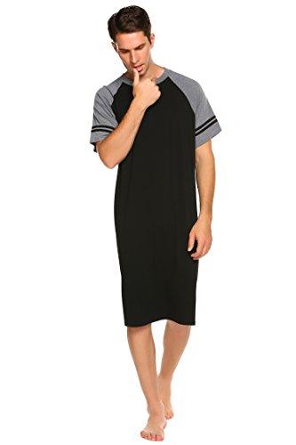 Nachthemd Herren Kurzarm Schlafanzug Nachtwäsche mit Knopfleiste Knielang Schlafkleid für Männer Sommer -