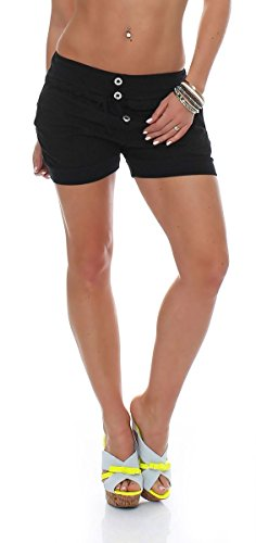 malito Damen Hotpants in Unifarben | lockere kurze Hose | Bermuda für den Strand | Pants - Shorts - klassisch 6086 (schwarz, XXL) (Für Frauen Xxl Zumba-kleidung)