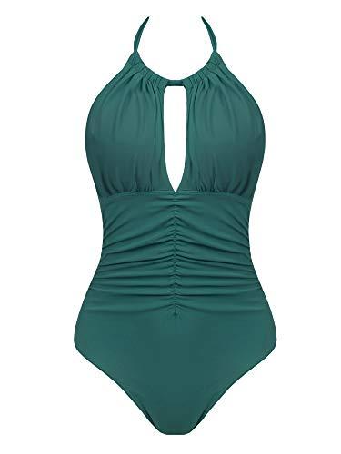Big D Halfter (Joyaria Damen Badeanzug, gerüscht, Einteiler, Bauchkontrolle, schlankes Design, Retro-Vintage-Bademode - Grün - X-Large)
