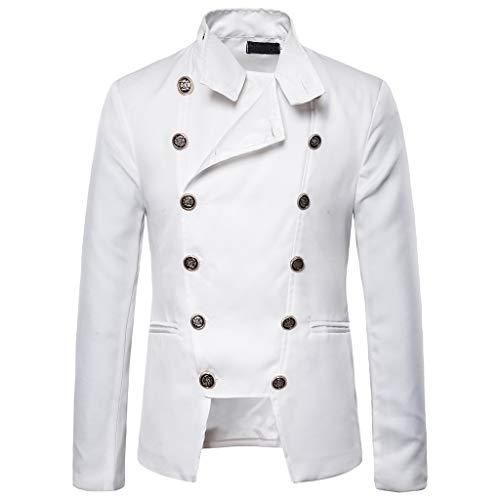 ZHANSANFM Herren Steampunk Jacke Button Down Gothic Einfarbig Blazer Military Elegant Stehkragen Mantel Outwear Vintage Viktorianischen Party Cosplay Kostüm Uniform für Männer (L, Weiß)