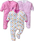 Gopuja New Born Baby Multi-Color Long Sleeve Super Soft Cotton Sleep Suit Romper for Boys and Girls Pack of 3 Rompers (Pink, 0-3 Months)