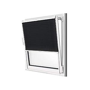 npluseins Plissee - vormontiert und mit Klemmfixierung am Fensterahmen - kinderleichte 3-Step Montage, ca. 120 x 130 cm, schwarz